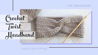 Knit-look Crochet Headband Pattern - Twist Front Seam with Camel Stitch