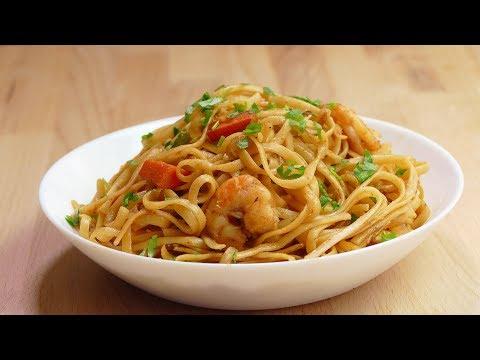 TALLARINES chinos con gambas - recetas de pasta faciles y rapidas