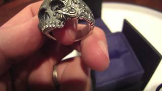 David Yurman Wave Skull Sterling Silver Ring With Black Diamonds