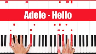How To Play Hello Adele Piano Tutorial (FULL LESSON) ♫ EASY