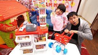 TRÒ CHƠI ĐI SIÊU THỊ MUA ĐỒ - Pretend Play Shopping w/ Kids Grocery Supermarket Food Toy Store