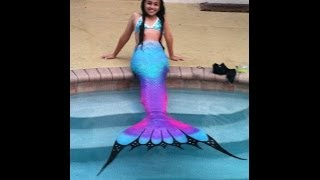 Swimming in a Silicone Mermaid Tail | Purple Rainbow Tails