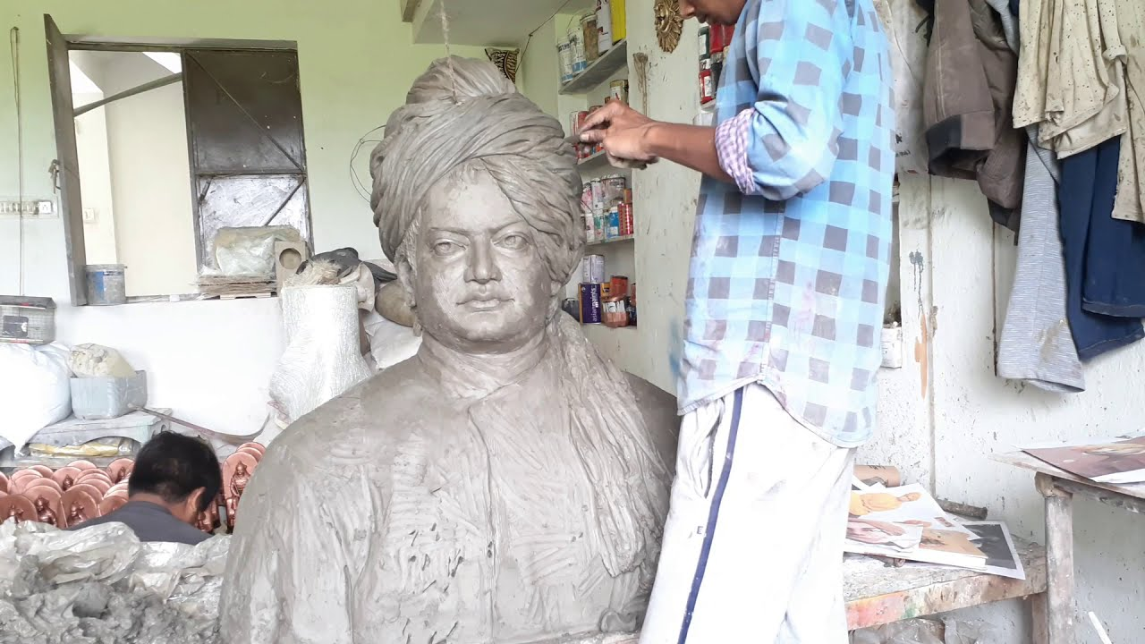 how to make clay sculpture swami vivekananda statue by ayan haldar