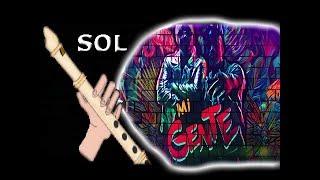 Mi gente, J Balvin, flauta fácil, solo el Riff, tutorial con animación,
