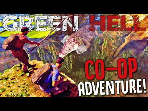 Surviving Deadly Caiman Attacks TOGETHER! - Green Hell Multiplayer Co-op Gameplay Part 1