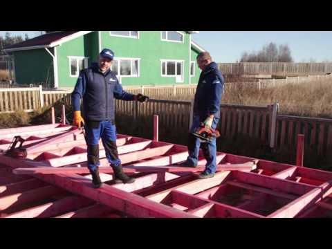 Строительство каркасного дома. Установка диагональных раскосин.