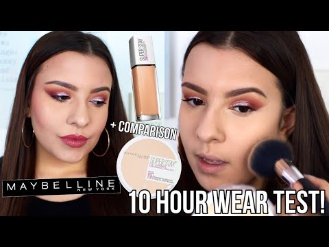 NEW Maybelline Superstay Powder Foundation?! | First Impression + 10 Hour Wear Test | Jackie Ann