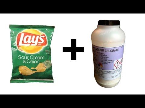 Чипсы Lays + Хлорат калия = Химическая реакция!