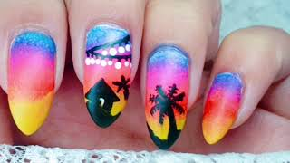 Easy DIY Ombre Sunset Beach Nails | Easy Nail Art At Home | @kaurnailedit