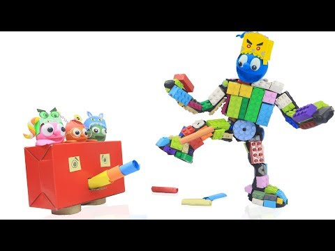 CLAY MIXER BUILDING LEGO ROBOT 💖 Stop Motion Cartoons Animation