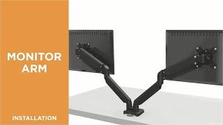 How to Install Premium Dual Monitors Aluminum Gas Spring Monitor Arm-LDT26-C024