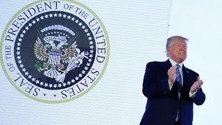 video: Blunder sees Donald Trump appear with fake presidential seal mocking golf and Russia links