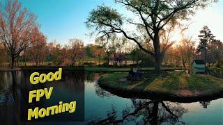 Beautiful Morning and Beautiful Lake Fountain Flight / FPV Freestyle