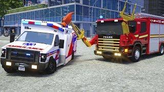 Fire Truck Frank Fixes Ambulance - Wheel City Heroes (WCH) - Sergeant Lucas the Police Car Cartoon