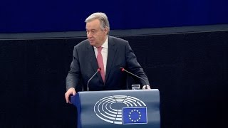 António Guterres (UN Secretary-General) at the European Parliament (Plenary session, 17 May 2017)