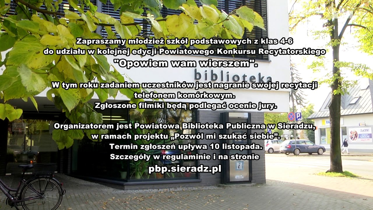 """Konkurs recytatorski """"Opowiem wam wierszem"""" – ogłoszenie PBP w Sieradzu"""