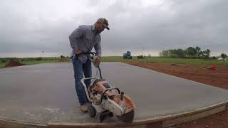 cutting a concrete pad
