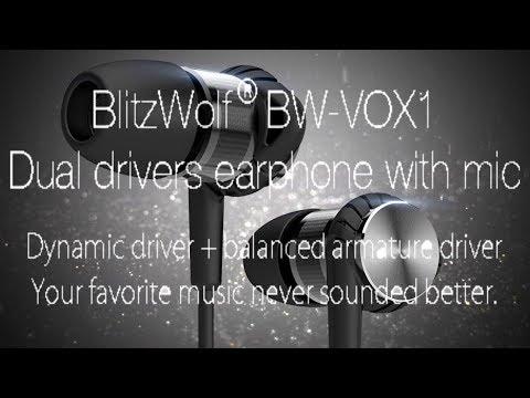 Ecouteurs intra-auriculaires Blitzwolf BW-VOX1, Dual driver pour du bon son à 20€