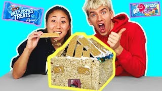 DIY EDIBLE BOX FORT!! (YOU CAN EAT 🍫