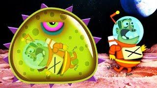 ХИЩНЫЙ СЛИЗЕНЬ ест ЛУНАТИКОВ Мультяшная игра для детей про ГОЛОДНОГО СЛИЗНЯ Mutant Blobs Attack