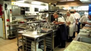 Busy kitchen at La Bastide Saint Antoine