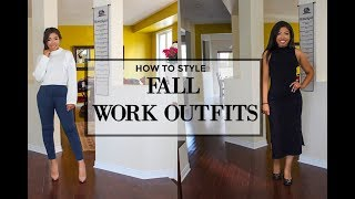 HOW TO LOOK STYLISH AT WORK - 4 FALL OUTFIT IDEAS FOR WORK - OFFICE ATTIRE LOOKBOOK