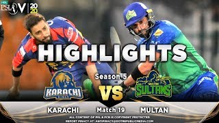 Karachi Kings vs Multan Sultans | Full Match Highlights | Match 19 | 6 March | HBL PSL 2020  Subscribe to Official HBL Pakistan Super League Channel and stay updated with the latest happenings. http://bit.ly/PakistanSuperLeagueOfficial  #HBLPSLV #TayyarHain  Cricket fans from around the world are excited about the Fifth edition of the HBL Pakistan Super League. Competition is heating up among fans as their favorite HBL Pakistan Super League teams take on each other in the lucrative cricket extravaganza which includes leading Pakistan national cricketers, established international players, and emerging players in each of the team's Playing XI.