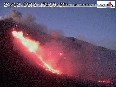 e94fe16917c6 Etna volcano erupts 24 Dec 2018  opening of flank vents and huge lava flow  in upper Valle del Bove