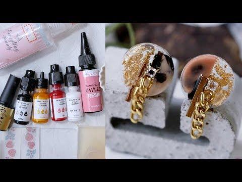DIY水晶滴膠教學! 琥珀玳瑁調色幾何造型耳環