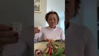 ลาบเนื้อผ้าขี้ริ้วพริกหยวก พริกย่าง สตอและผักต่างๆปอบสวีเดน