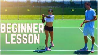 Beginner Tennis Lesson | Forehand, Backhand & Serve