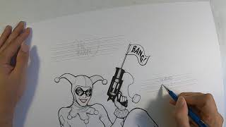 Frank Cho Drawing Demo - Inking Harley Quinn In Classic Costume