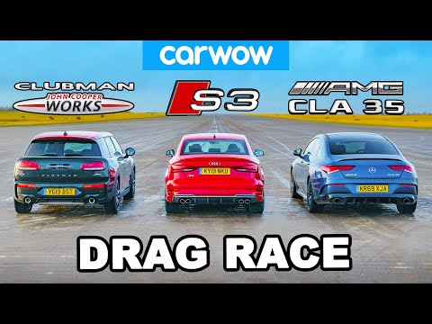 AMG CLA 35 v Audi S3 v MINI 4x4 JCW - DRAG RACE, ROLLING RACE & BRAKE TEST!
