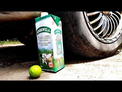 Crushing Crunchy & Soft Things by Car! - Fresh Milk Bottle & Lime