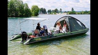 Надувной плот для рыбалки с палаткой