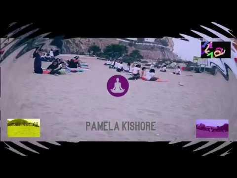 Yoga en la playa de la Rivera de Ceuta 2018 por Pamela Kishore...