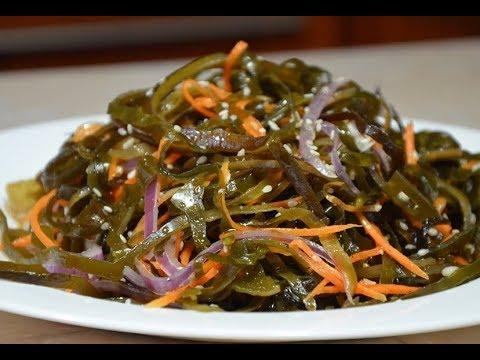 Салат из свежей морской капусты с кальмарами