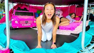 World's BIGGEST GIRLS LOUNGE on a Trampoline Park!!