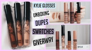 Kylie Jenner Glosses Unboxing Swatches Dupes + GIVEAWAY  Megan Mauk ♡