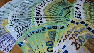 Counting 100, 200, 500 EURO banknotes