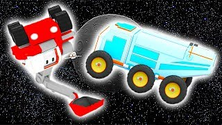 Луноход с Малышами-грузовичками: бульдозер, кран, экскаватор, обучающий мультфильм