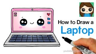 How to Draw a Laptop Computer Easy and Cute