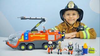 МАШИНКА Пожарных Playmobil и Пожарный Даник - Бригада пожарных в кейсе. Машинки для детей