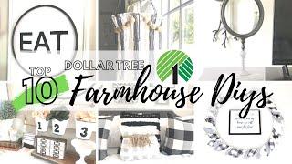 TOP 10 DOLLAR TREE DIYS   DOLLAR TREE FARMHOUSE HOME DECOR CRAFT IDEAS 2020