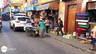 Fahrt durch Einkaufsstraße Mercado Campesino
