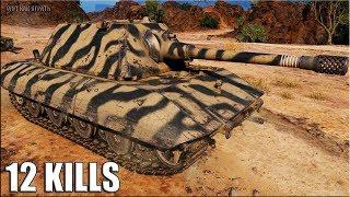 Е100 тащит 12 фрагов за бой World of Tanks