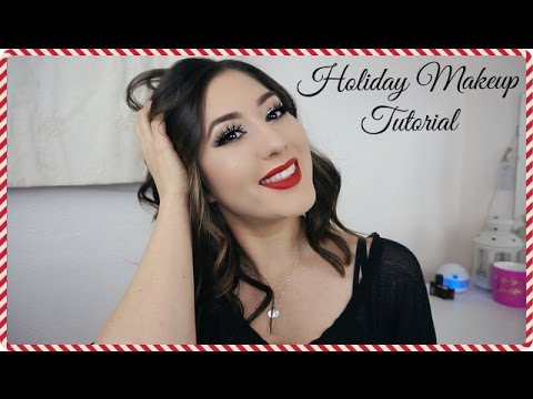 Classic Holiday Makeup L Glitter Eyes And Red Lips