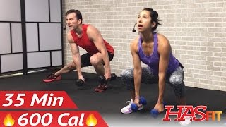 35 Min HIIT Workout for Fat Loss - Home HIIT Workout with Weights - High Intensity Interval Training by HASfit