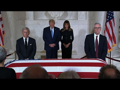 President Donald Trump has paid his respects to the late Supreme Court Justice John Paul Stevens. Stevens retired from the court in 2010 and died last week in Florida at age 99. His body is in repose in the court's Great Hall. (July 22)
