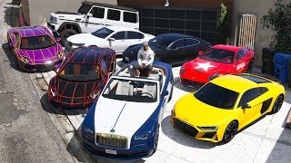 GTA 5 - Stealing Luxury Youtubers Cars with Franklin! (Real Life Cars #08)
